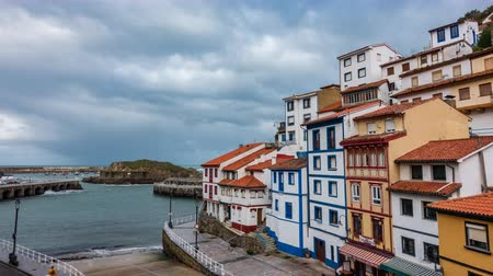 Cudillero fishing village near port time lapse Stock Footage