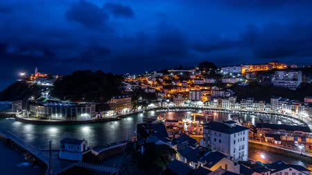 nobel : Night over Luarca city time lapse, top view Stock Footage