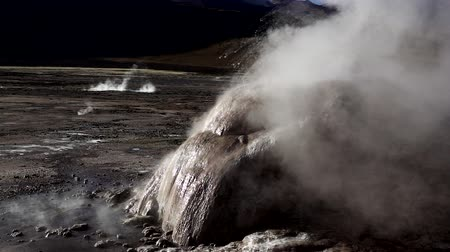 Detailed view of geyser fumarole in slow-mo