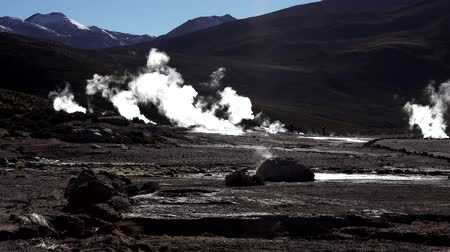 géiser : El tatio geyser with tourist going from left to right Vídeos