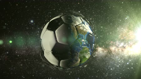 futebol : Planet Earth in the form of a ball in space