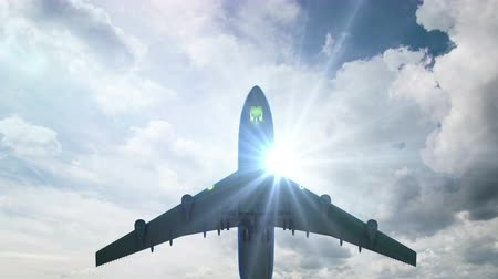 taking flight : Airplane fly by sunny day blue sky. loop video