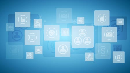 marketing : Abstract twinkling icons communication blue tech design. Video animation HD 1920x1080 Stock Footage