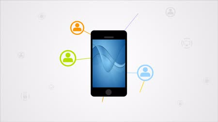 иконки : Bright communication illustration with mobile phone. Video animation HD 1920x1080