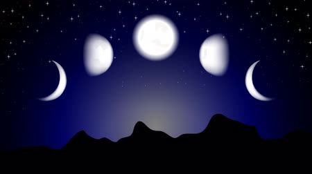 hilâl : Moon phases on night landscape. Video animation HD 1920x1080 Stok Video