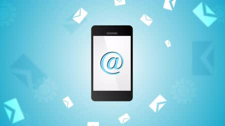 levelezési : Mobile phone and emails background. Video animation HD 1920x1080