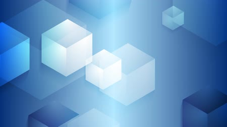kocka : Bright blue moving cube shapes background. Seamless loop design. Video animation HD 1920x1080