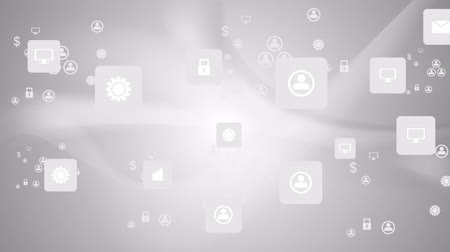 интегрированный : Social communication icons on grey wavy animated background. Video graphic design HD 1920x1080
