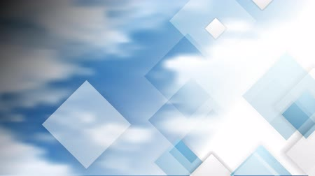 klipek : Blue cloudy sky and tech squares motion background. Video animation HD 1920x1080