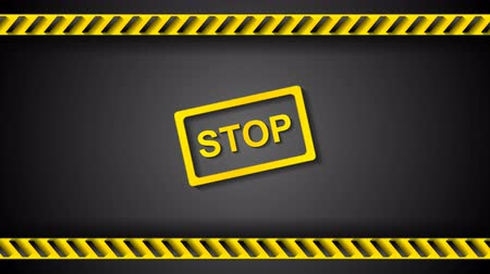 tehlike : Stop sign and orange danger tape motion design. Seamless looping. Video animation HD 1920x1080 Stok Video