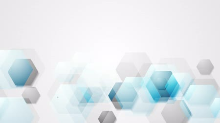 hexágono : Blue grey bright abstract hexagons tech motion background. Video animation HD 1920x1080