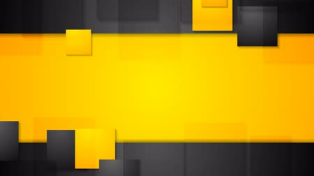 black yellow : Black orange bright abstract squares tech background. Seamless loop design. Video animation HD 1920x1080 Stock Footage