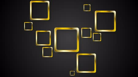 motion elements : Golden squares on black background. Video animation HD 1920x1080