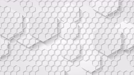 hexágono : White grey geometric animated motion design with hexagons mesh. Video animation Ultra HD 4K 3840x2160 Vídeos