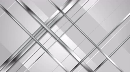 ezüst : Tech abstract metallic silver stripes video clip. Shape animation Ultra HD 4K 3840x2160 Stock mozgókép