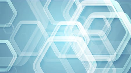 hexágono : Abstract blue geometric animated motion design with hexagons. Video animation Ultra HD 4K 3840x2160