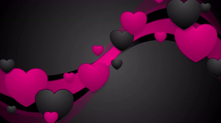 casa : Black and pink wavy motion background with hearts. Video animation Valentine Day Ultra HD 4K 3840x2160