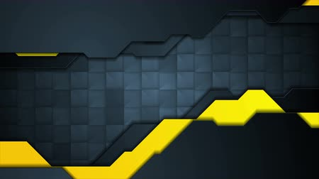 black yellow : Dark blue and yellow technology motion design with flickering squares. Seamless loop. Video animation Ultra HD 4K 3840x2160 Stock Footage