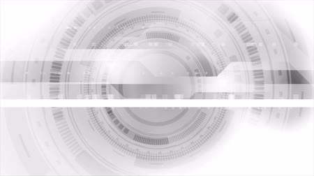 szare tło : Gray abstract tech HUD interface gear shape shape background. Seamless loop. Video animation Ultra HD 4K 3840x2160