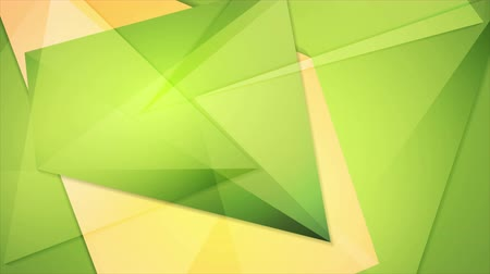 hi fi : Abstract green orange tech geometric polygonal motion design. Seamless loop. Video animation Ultra HD 4K 3840x2160