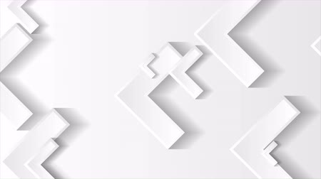 hitech : Gray and white tech paper arrows geometric motion background. Seamless loop. Video animation Ultra HD 4K 3840x2160