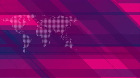 pink background : Hi-tech geometric motion graphic design with dotted world map. Seamless loop. Video animation Ultra HD 4K 3840x2160 Stock Footage