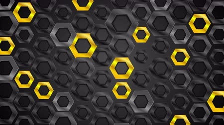 camsı : Black and yellow glossy hexagons tech motion graphic design. Video animation Ultra HD 4K 3840x2160 Stok Video