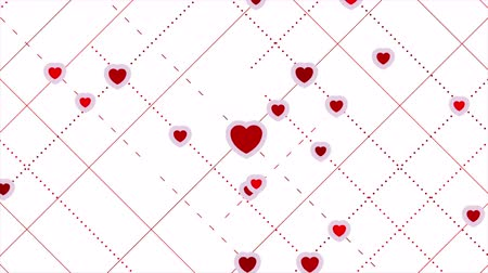 art : Red hearts abstract St Valentines motion graphic design. Seamless loop. Video animation Ultra HD 4K 3840x2160