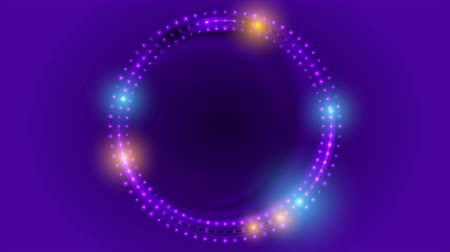 сверкающий : Neon led lights abstract violet circles motion background. Seamless loop. Video animation Ultra HD 4K 3840x2160