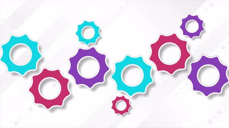 cogwheels : Bright multicolored abstract tech gears mechanism motion design. Animated background Ultra HD 4K