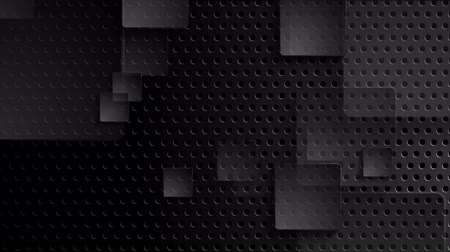 átlyukadt : Black perforated metallic background with moving squares