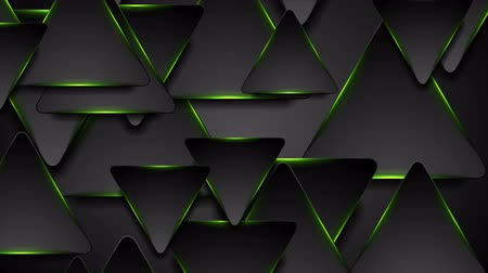 rysunek techniczny : Black and glowing green triangles motion background Wideo