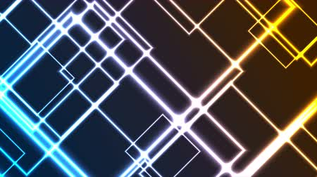 высокотехнологичный : Abstract glowing neon colorful squares video animation