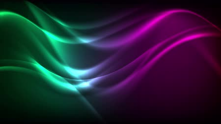 dobrar : Green violet neon liquid waves video animation