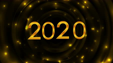 Новый год : Glowing golden 2020 New Year abstract video animation