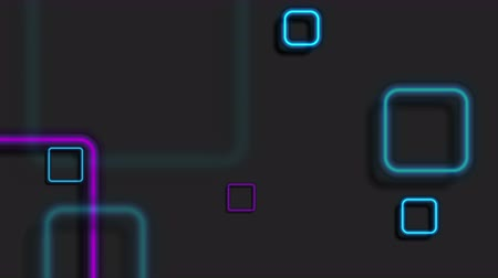 hi fi : Blue purple neon squares geometric video animation