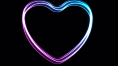 art : Glowing neon blue purple hearts video animation Wideo