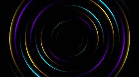 brochures : Colorful neon glowing circles abstract video animation