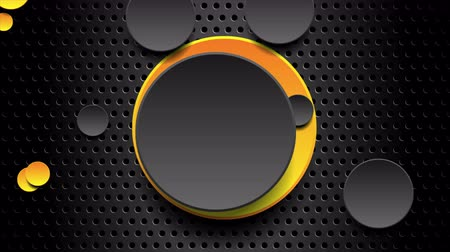 átlyukadt : Yellow and black moving circles on dark background perforated