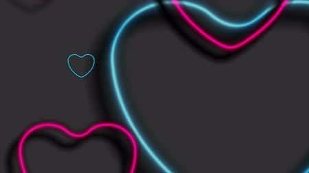 art : Bright blue and purple neon hearts abstract video animation