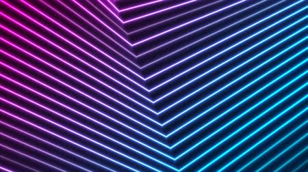 fluorescent : Blue purple tech geometric neon lines video animation Stock Footage