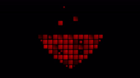 art : Red heart from geometric squares mosaic abstract video animation Wideo