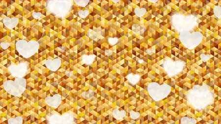 art : Valentine Day hearts polygonal pixelated golden video animation