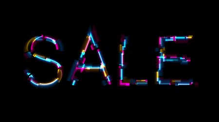 distorsiyon : Abstract glowing neon sale lettering with glitch effect video animation Stok Video