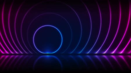 неон : Blue ultraviolet neon laser circles technology video animation