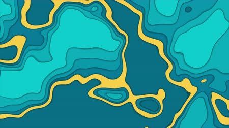 cartografia : Turquoise and orange topographic contour map abstract tech motion background