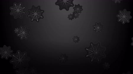 x mas : Black Christmas motion background with falling snowflakes. Video animation Ultra HD 4K 3840x2160 Stock Footage