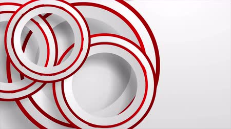 clipe de papel : Abstract geometric video animation with grey and red paper circles Stock Footage