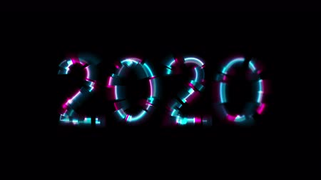 distorcida : Abstract glowing neon 2020 New Year with glitch effect video animation Vídeos