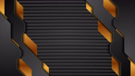 hi fi : Black and golden technology motion background with dark striped texture Stock Footage